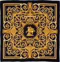 "Luxury Accessories:Accessories, Hermes Black & Gold ""Les Tuileries,"" by Joachim Metz Silk Scarf. ..."