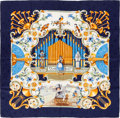 """Luxury Accessories:Accessories, Hermes Navy, Blue & Gold """"Orgauphone,"""" by Francoise Faconnet Silk Jaquard Scarf. ..."""