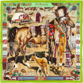 "Luxury Accessories:Accessories, Hermes Lime Green, Brown & Purple ""Les Cheyennes,"" by KermitOliver Silk Scarf. ..."