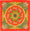 "Luxury Accessories:Accessories, Hermes Red & Green ""Luna Park,"" by Joachim Metz Silk JacquardScarf. ..."
