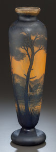 Art Glass:Other , RICHARD OVERLAY GLASS LANDSCAPE VASE. Circa 1910, Cameo:Richard. 14-3/4 inches high (37.5 cm). ...