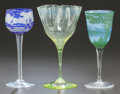 Art Glass, THREE VARIOUS ART GLASS STEMMED VESSELS. Early 20th century,Various marks. 8-1/4 inches high (21.0 cm) (tallest). ... (Total: 3Items)
