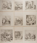 "Books:Prints & Leaves, [Reynard the Fox]. Group of Nine (9) Steel Engravings. Measuring10.5"" x 12.75"", each engraving contains images of anthropom..."