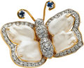 Estate Jewelry:Brooches - Pins, Freshwater Cultured Pearl, Diamond, Sapphire, Gold Brooch. ...
