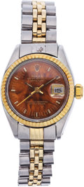 Estate Jewelry:Watches, Rolex Lady's Wood, Gold, Stainless Steel DateJust Wristwatch. ...