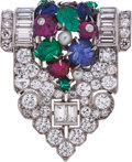 Estate Jewelry:Brooches - Pins, Art Deco Diamond, Multi-Stone, Cultured Pearl, Platinum, White Gold Brooch. ...