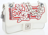 Chanel Sport Collection Red & White Fabric Camelia Medium Flap Bag with Silver Hardware