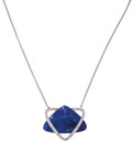 Estate Jewelry:Necklaces, Lapis Lazuli, Diamond, White Gold Necklace, Eli Frei. ...