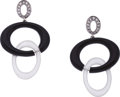 Estate Jewelry:Earrings, Diamond, Black Onyx, Rock Crystal Quartz, White Gold Earrings, EliFrei. ...
