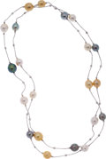 Estate Jewelry:Necklaces, Multi-Color Cultured Pearl, White Gold Necklace. ...