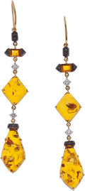 Estate Jewelry:Earrings, Amber, Colored Diamond, Diamond, Gold Earrings, Eli Frei. ...