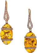 Estate Jewelry:Earrings, Diamond, Amber, Gold Earrings, Eli Frei. ...