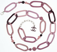 Chanel Pink, Mauve & Dark Purple Metallic Chain & Beaded Necklace