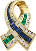 Estate Jewelry:Pendants and Lockets, Diamond, Sapphire, Emerald, Gold Pendant, Charles Krypell. ...