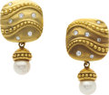 Estate Jewelry:Earrings, Diamond, Cultured Pearl, Gold Earrings. ...