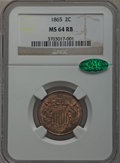 Two Cent Pieces: , 1865 2C MS64 Red and Brown NGC. CAC. NGC Census: (351/422). PCGSPopulation (617/286). Mintage: 13,640,000. Numismedia Wsl....