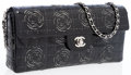 Luxury Accessories:Bags, Chanel Black Patent Leather East-West Clutch Bag with ShoulderStrap and Camelia Flower Detail. ...