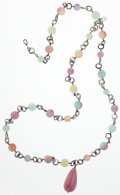 Luxury Accessories:Accessories, Chanel Brushed Silver & Multicolor Beaded Necklace. ...