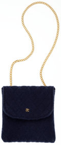 Luxury Accessories:Accessories, Chanel Navy Quilted Cotton Accessory Case Bag with Gold CC. ...