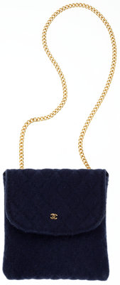 Chanel Navy Quilted Cotton Accessory Case Bag with Gold CC