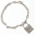 Luxury Accessories:Accessories, Hermes Sterling Silver Chain d'Ancre PM Bracelet with Kelly LockCharm. ...