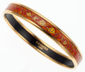 Luxury Accessories:Accessories, Hermes 65mm Orange, Red & Yellow Enamel Bangle Bracelet withGold Hardware. ...