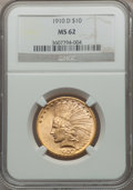Indian Eagles: , 1910-D $10 MS62 NGC. NGC Census: (4558/3085). PCGS Population(3645/2927). Mintage: 2,356,640. Numismedia Wsl. Price for pr...
