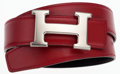 Luxury Accessories:Accessories, Hermes 75cm Rouge Vif & Black Calf Box Leather Reversible HBelt with Palladium Hardware. ...