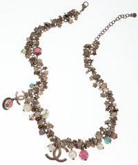 Chanel Brushed Silver Flower Motif Necklace with Pink Beads