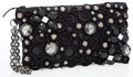 Luxury Accessories:Bags, Catherine Malandrino Black Leather Wristlet Bag with CrystalDetail. ...