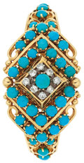Estate Jewelry:Watches, Swiss Lady's Diamond, Turquoise, Gold Covered Dial Wristwatch . ...