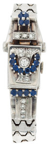 Estate Jewelry:Watches, Lady's Diamond, Sapphire, Gold Covered Dial Wristwatch. ...