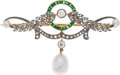 Estate Jewelry:Brooches - Pins, Edwardian Diamond, Emerald, Cultured Pearl, Platinum-Topped Gold Brooch. ...