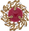 Estate Jewelry:Brooches - Pins, Coral, Diamond, Gold Pendant-Brooch. ...
