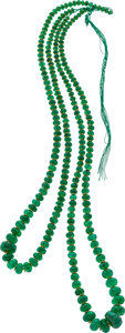 Estate Jewelry:Necklaces, Emerald Bead, Yellow Metal Necklace. ...