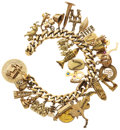 Estate Jewelry:Bracelets, Multi-Stone, Gold Charm Bracelet. ...