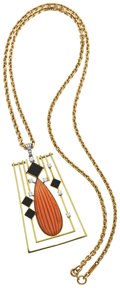 Estate Jewelry:Necklaces, Coral, Black Onyx, Diamond, Gold Pendant-Necklace. ...