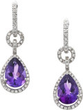Estate Jewelry:Earrings, Amethyst, Diamond, White Gold Earrings, Piranesi. ...
