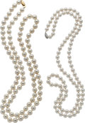 Estate Jewelry:Necklaces, Cultured Pearl, Gold Necklaces. ...