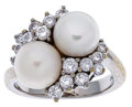 Estate Jewelry:Rings, Cultured Pearl, Diamond, White Gold Ring, Mikimoto. ...