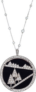 Estate Jewelry:Necklaces, Diamond, Black Onyx, White Gold Necklace. ...