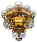 Estate Jewelry:Rings, Citrine, Diamond, Cultured Pearl, Platinum-Topped Gold Ring. ...