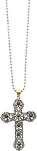 Estate Jewelry:Necklaces, Diamond, Sapphire, Silver-Topped Gold, Steel Pendant-Necklace. ...