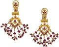 Estate Jewelry:Earrings, A PAIR OF RUBY, GOLD EARRINGS. ...