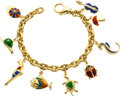 Estate Jewelry:Bracelets, Enamel, Gold Charm Bracelet. ...