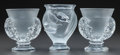 Art Glass:Lalique, THREE LALIQUE CLEAR AND FROSTED GLASS FOOTED VASES. Post 1945,Engraved: Lalique, France. 5 inches high (12.7 cm) (talle...(Total: 3 Items)