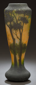 Art Glass:Daum, DAUM ETCHED AND OVERLAY GLASS LANDSCAPE VASE . Circa 1900,Engraved: DAUM, NANCY with cross of Lorraine. 12-1/2 inchesh...