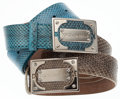 Luxury Accessories:Accessories, Dolce & Gabbana Set of Two: Natural Snakeskin Belt with SilverHardware & Blue Snakeskin Belt with Silver Hardware. ...