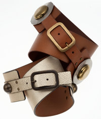 Diane von Furstenberg Set of Two: Metallic Gold Leather Belt with Antiqued Gold Hardware & Tan Leather Belt with Two...