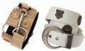 Luxury Accessories:Accessories, Set of Two: Yves Saint Laurent by Tom Ford Tan Leather &Mombasa Horn Belt & Christian Dior White Leather MedallionBelt. ... (Total: 2 Items)